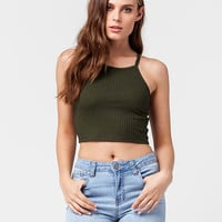 BOZZOLO Cropped High Neck Womens Tank   Essentials