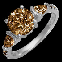 Brown diamonds 2.25 carat ring 3 stone style gold ring