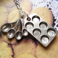 Bakers Necklace, Silver Muffin Pan and Measuring Spoon Charms, Cupcakes, Baking