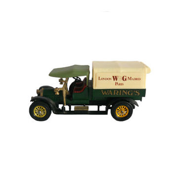 Vintage Matchbox Model Car Toy Models of Yesteryear - Crossley Delivery Truck Waring's Green and Gold - Made in England - 1973