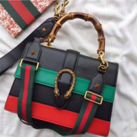 GUCCI Women Shopping Leather Crossbody Satchel Handbag Tote Satchel Shoulder Bag H-MYJSY-BB