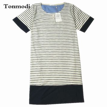 Sleep Nightgowns For Women Knitted Cotton Short-sleeve Nightgown Soft Fresh Stripe Nightshirt