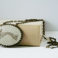 Music Leather pendant necklace beige rustic jewelry musical elegant necklace