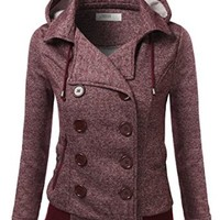 J.TOMSON Womens Double Breasted Hooded Coat Jacket With Pockets