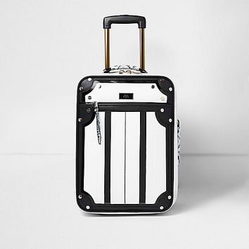 Black and white snake print cabin suitcase