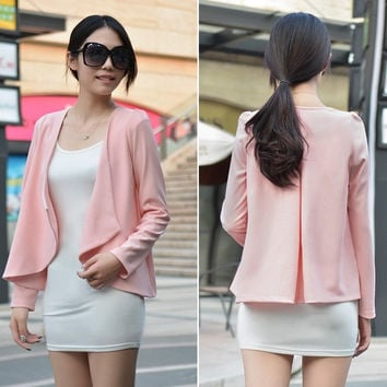 Long Sleeve Cotton Women Outerwear Cardigan Jacket Pink Casual Sweet Coat SV006873 = 1902213316