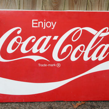 Coca Cola Sign - Large Metal Sign - Coca-Cola Sign - Coca Cola Collectible - Coke Sign - AM 57 - Mancave - Game Room - Father's Day Gift