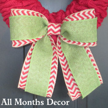 Green Burlap over Red/Natural Chevron Burlap Bow, Chevron Wreath Bow, Spring, Easter, Fall, Winter, Christmas, Floral Bow, Holiday