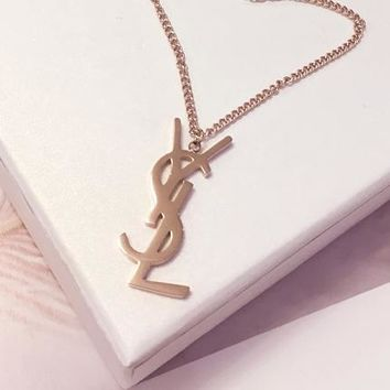 YSL metal letter necklace rose gold collarbone chain necklace female neck band 100 tie titanium steel personality web celebrity simple