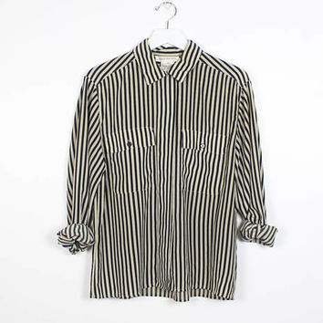 Vintage 1980s Blouse Black Tan Vertical Striped Print Blouse Long Sleeve Secretary Blouse Button Down Draped Shirt 80s Mod Top L Large 12 M