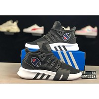 ADIDAS EQT x Champion joint model 2019 new comfortable sports men and women running shoes Black