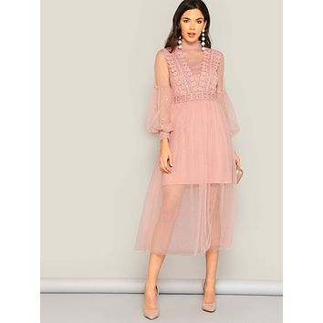 Pearl Beaded Bishop Sleeve Sheer Mesh Overlay Dress