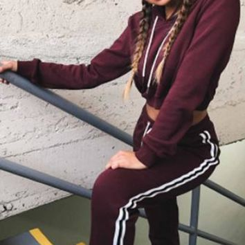 Candy Girl Long Sleeve Hood Matching Elastic Side Stripe Pant Two Piece Set