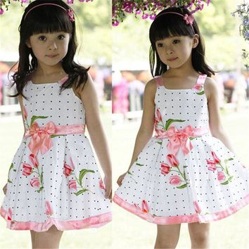 Infant baby Dress brand design sleeveless Print Bow Dress summer girls baby clothing cool cotton party princess dresses