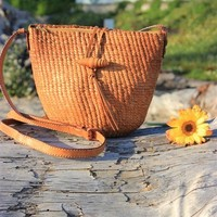 Vintage Carmel Brown Woven Leather Bag