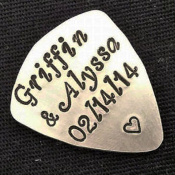 Guitar Pick Hand Stamped Personalized Name Christmas gift for him Father's Day Musician Graduation Personalized Anniversary gift heart date