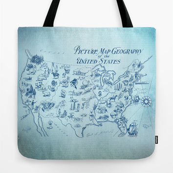 World Map Tote Bag, Blue and white travel theme tote, everything bag, allover print, gift for mom, beach bag, travel bag
