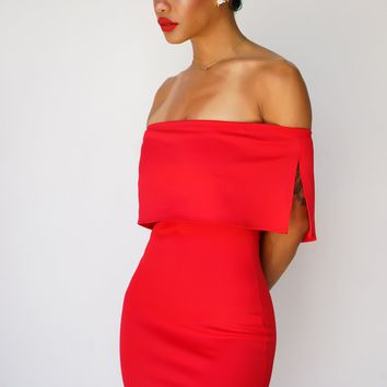 Selah Off The Shoulder Dress - Red