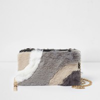 Cream faux fur panelled purse - Purses - Bags & Purses - women