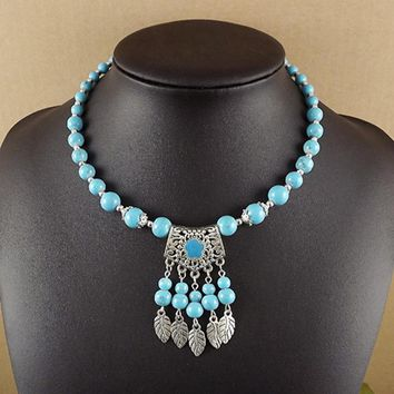 Bohemian Style Glass Natural stone Beads Necklace Metal Leaf Pendant Tassel Fringe Turkish Ethnic Boho Bib Necklace JJAL N393