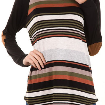 Navy Stripe Tunic with Elbow Patch