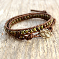 Rustic beaded wrap bracelet. Earthy double wrap beaded leather bracelet. Natural stone wrist wrapping bracelet.