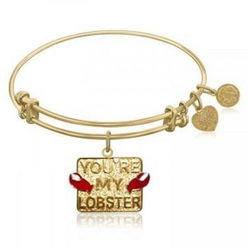 ac NOVQ2A Expandable Bangle in Yellow Tone Brass with You're My Lobster Symbol