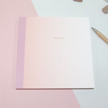 Pink gradation medium plain notebook