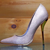 "Luichiny Mind Blowing Nude Snake Pointy Toe Pumps - 4.5"" High Heel Shoes"