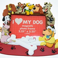 Disney Parks Magnetic Photo Frame 2.25x3.25 I Love My Dog Pongo Nala Pluto New