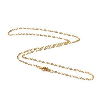 """Brass Chain for Necklace Making Jewelry Findings Golden Color, Chain: about 1.5mm wide, 2mm long; about 18"""" long,120 Strands/lot"""