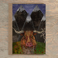 Starry Night - Greeting Card /// Cow Card, Animal Card, Wildlife Card, Blank Card, Texas Longhorn, Western, Country, Mountains, Wilderness