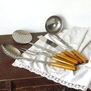 Unused Kitchen Utensil set with holder, Stainless Utensil set, Wood handles USSR era 70s, Primitive Cookware, Rustic Farm House decor