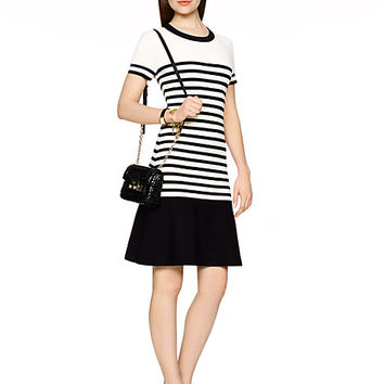 Kate Spade Drop Waist Stripe Scuba Dress Cream/Black