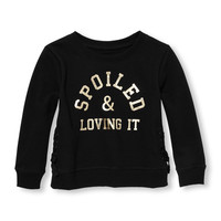 Toddler Girls Active Long Sleeve Lace-up Foil Graphic Pullover   The Children's Place