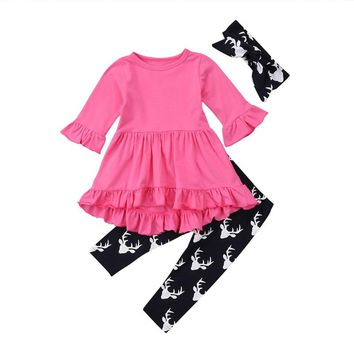 2018 New Autumn Winter Baby Girl Clothes Long Sleeve Dress Solid Ruffles Top Pant Trouser 3PCS Outfit Toddler Kids Clothing Set