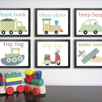 Transportation Nursery Art Print, Set of Six 8 x 10, Kid Art, Children Decor, Nursery Wall Decor, Baby Art Print, vehicle decor