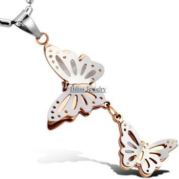 New Arrived Stainless Steel Silver and Gold Charm Double Butterflies Pendant Necklace Bead Ball Chain for Womens Women Gifts