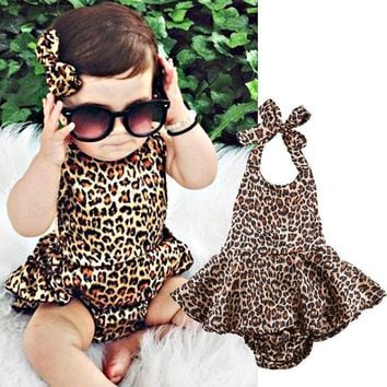 Newborn Baby Girls Clothes Fashion Kids Toddler Girl Leopard Skirted Bodysuit Backless Summer Infant Bebes Outfit Sunsuit