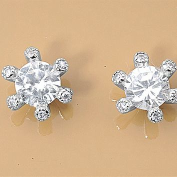 .925 Sterling Silver Cluster Brilliant Cut Simulated Diamond CZ Ladies and Girls Stud Earrings