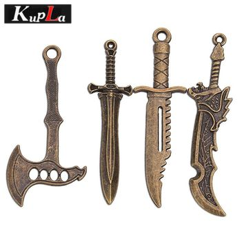 Vintage Bronze Metal Axe Dagger Knife Sword Charms for Jewelry Making Retro DIY Handmade Accessories 12 pieces/lot C5415