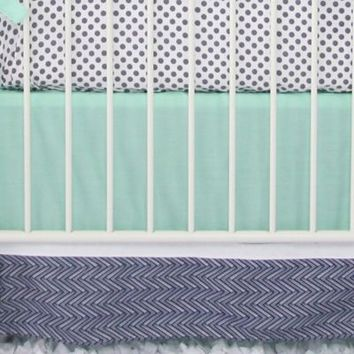 Caden Lane® Arrow Chevron 2-Piece Crib Bedding Set in Mint/Navy