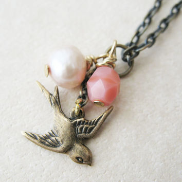 Romantic Swallow Bird Necklace. Pink Bird Pearl Bead Necklace. Bird Charm Necklace.