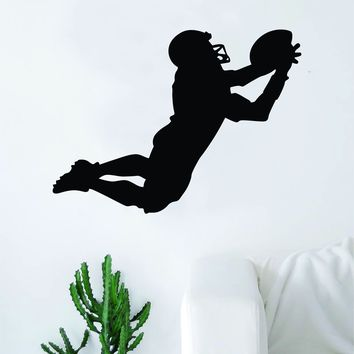 Football Player Silhouette Wall Decal Sticker Bedroom Living Room Art Vinyl Beautiful Inspirational Sports Teen Ball NFL Catch