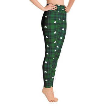 Saint Patricks Day Green Plaid Shamrock Clover Leaf Leggings