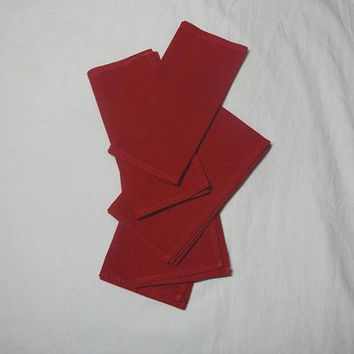 Set of 5 Vintage 1960s Cotton Cocktail Napkins in Red, 14 x 7.25 Inches, Christmas or Valentine Decor, Vintage Cotton Table Linens, Home Dec
