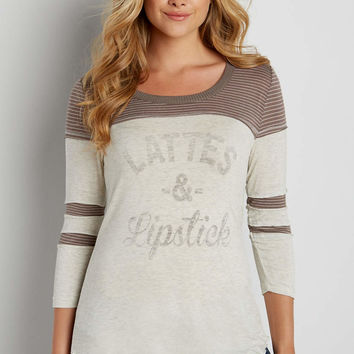 football tee with lattes and lipstick graphic | maurices