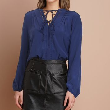 Bilson Silk Pintuck Blouse