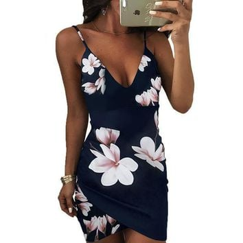 Women's Sexy Blue Floral Fitted Camisole Slip Dress