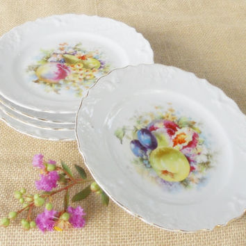 Vintage French Country/Cottage Style Dessert Plates, Set of 5, Fruit